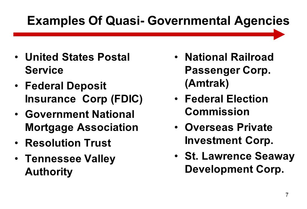 Examples Of Quasi- Governmental Agencies