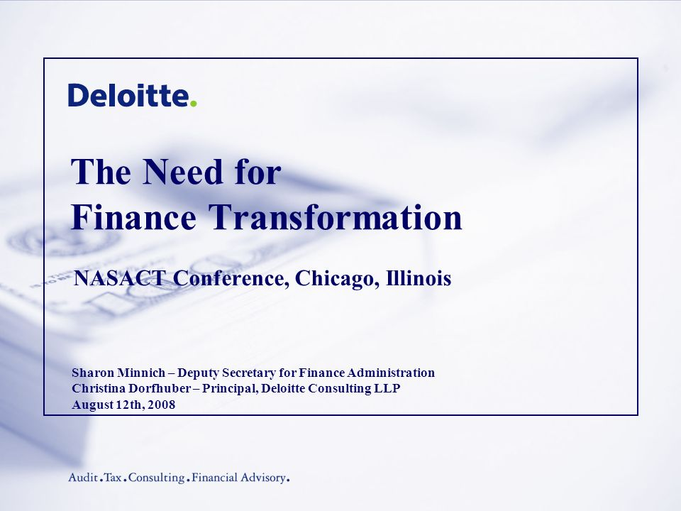 The Need for Finance Transformation