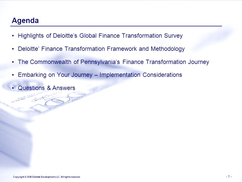 Agenda Highlights of Deloitte's Global Finance Transformation Survey