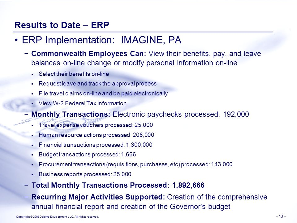 ERP Implementation: IMAGINE, PA