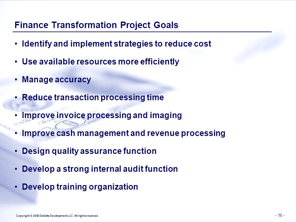 Finance Transformation Project Goals