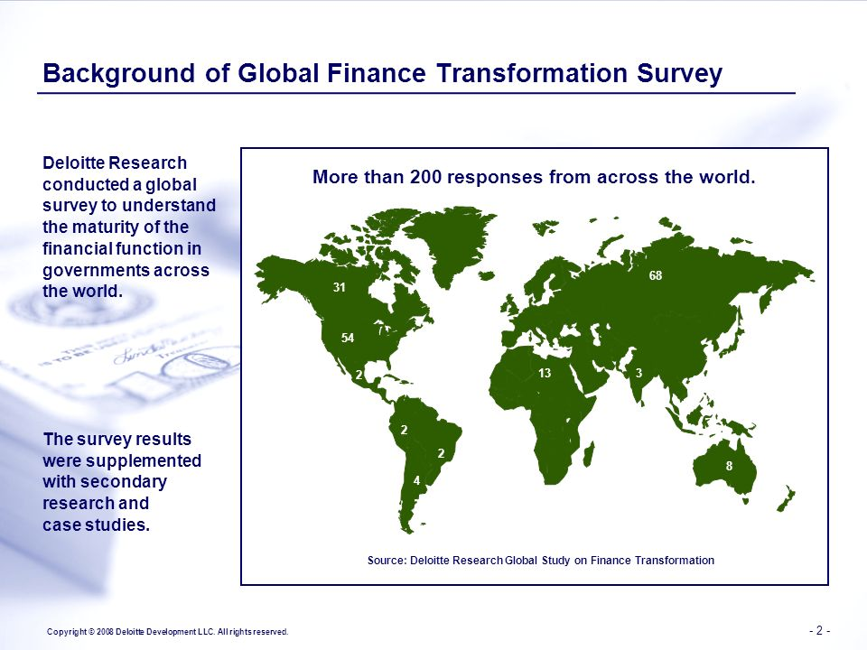Background of Global Finance Transformation Survey