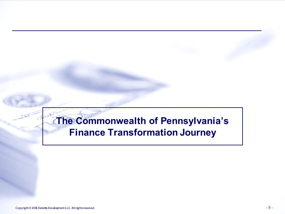 The Commonwealth of Pennsylvania's Finance Transformation Journey