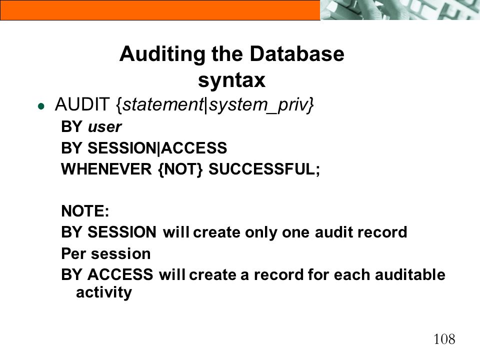Auditing the Database syntax