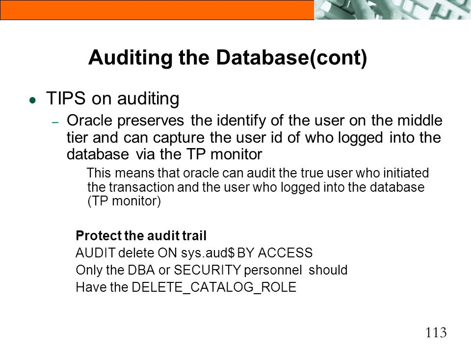 Auditing the Database(cont)