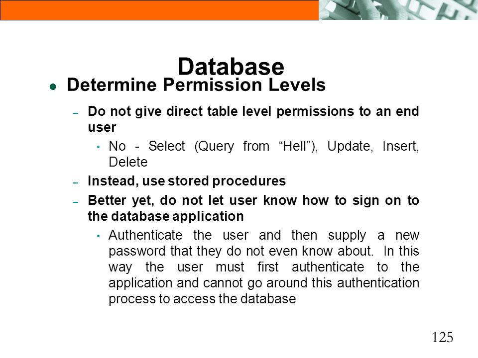 Database Determine Permission Levels