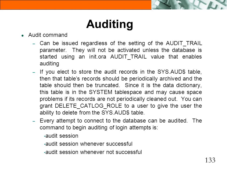 Auditing Audit command