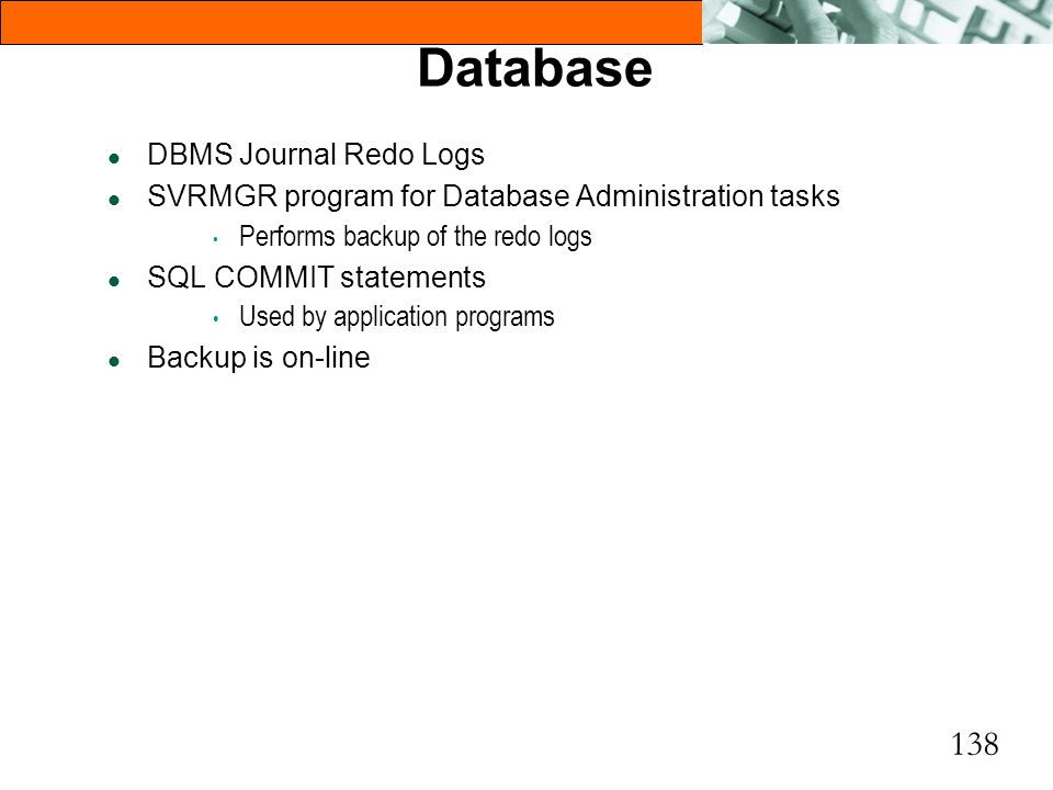 Database DBMS Journal Redo Logs
