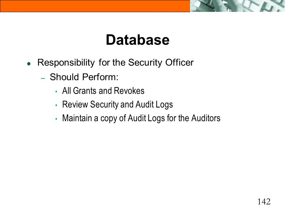 Database Responsibility for the Security Officer Should Perform: