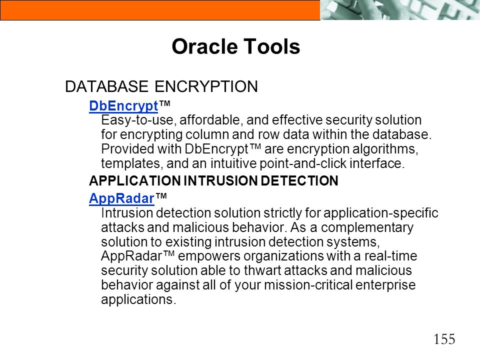 Oracle Tools DATABASE ENCRYPTION