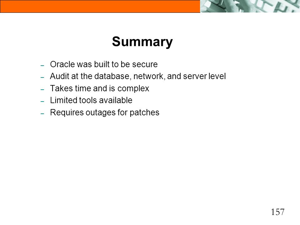 Summary Oracle was built to be secure