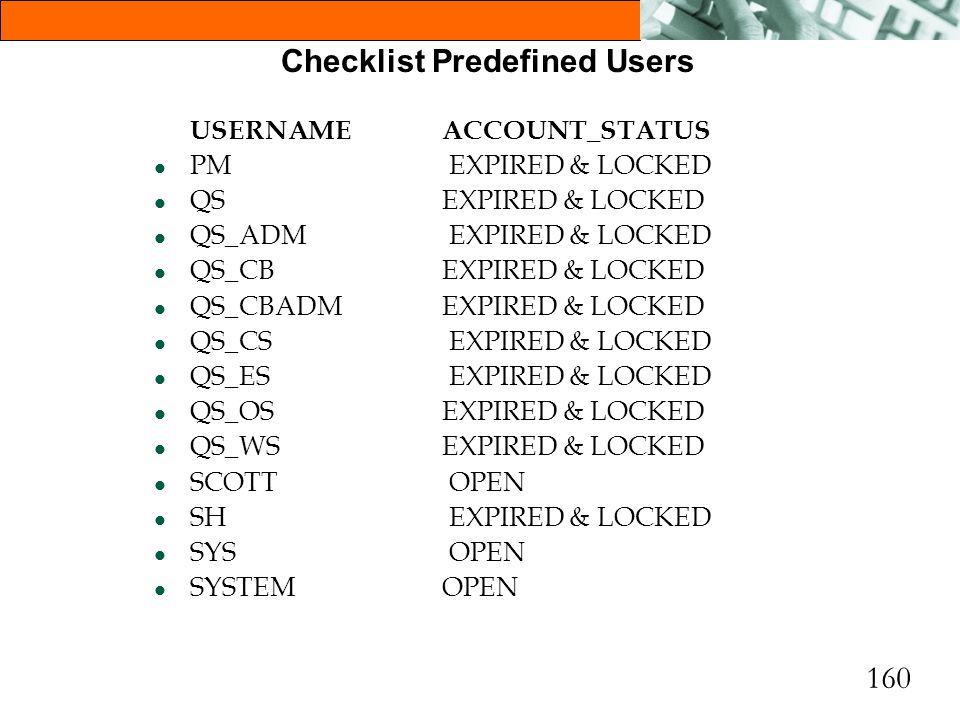 Checklist Predefined Users