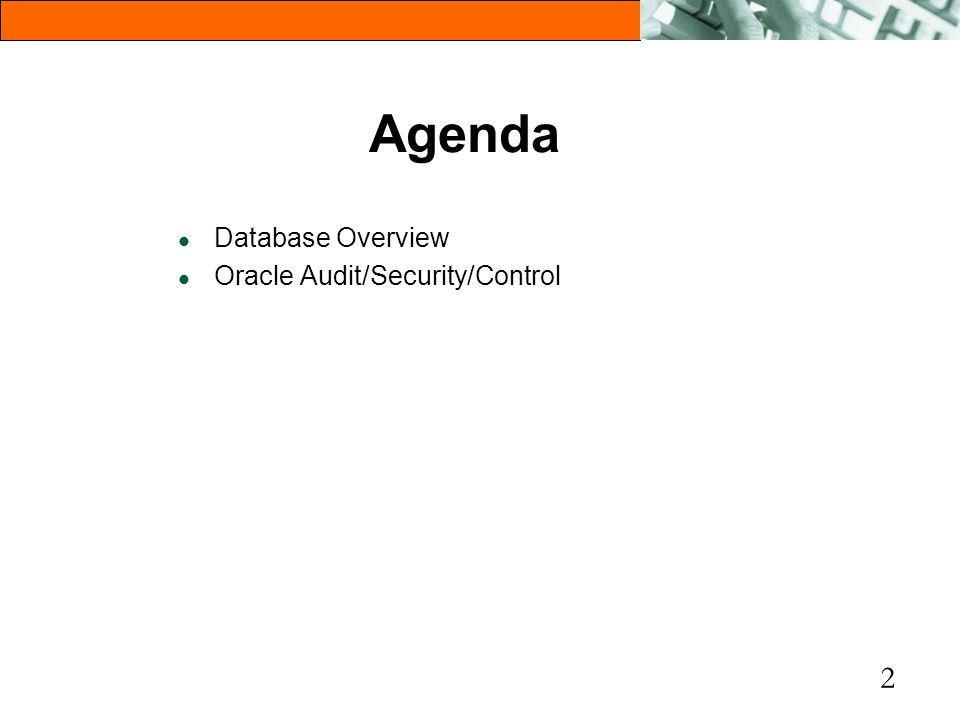 Agenda Database Overview Oracle Audit/Security/Control