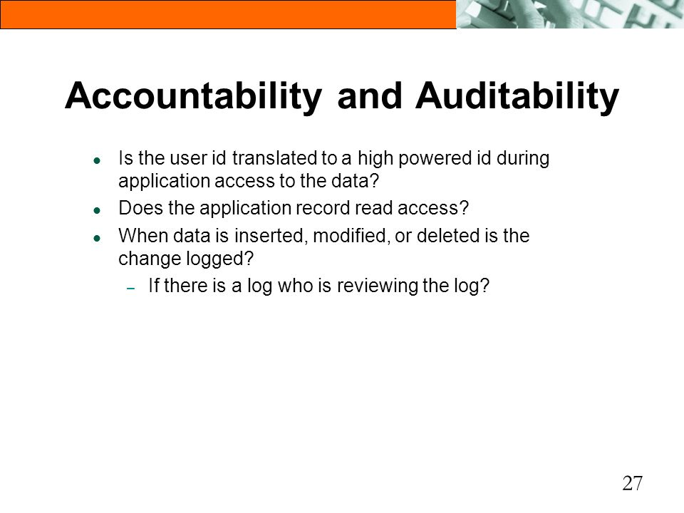 Accountability and Auditability