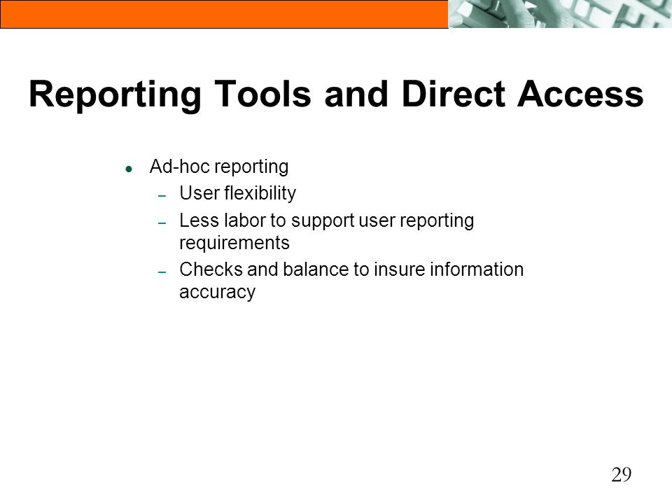 Reporting Tools and Direct Access