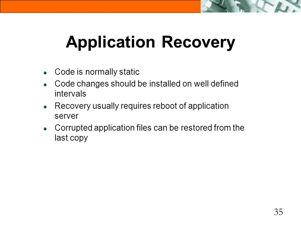 Application Recovery Code is normally static