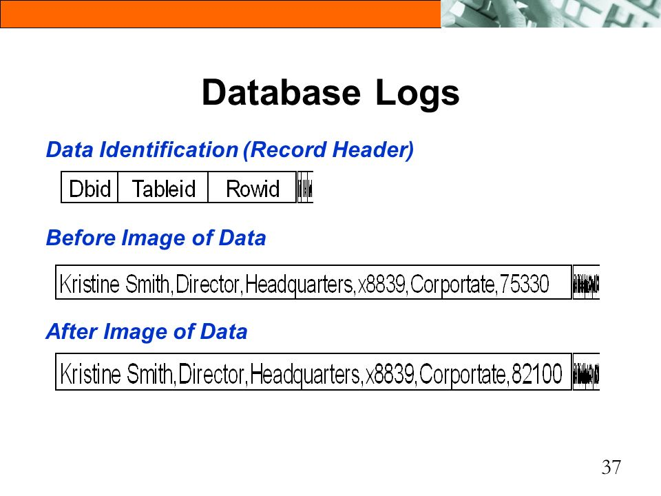 Database Logs Data Identification (Record Header) Before Image of Data