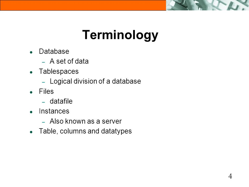Terminology Database A set of data Tablespaces