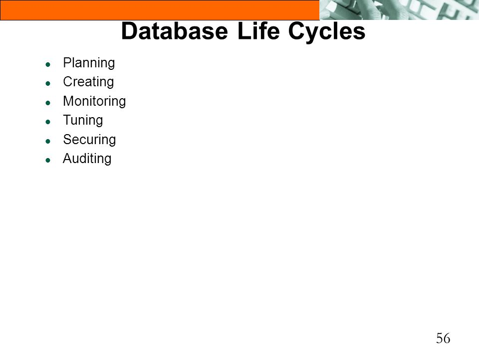 Database Life Cycles Planning Creating Monitoring Tuning Securing