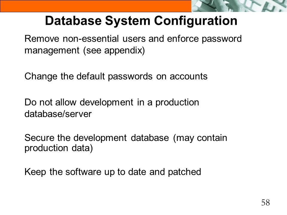 Database System Configuration