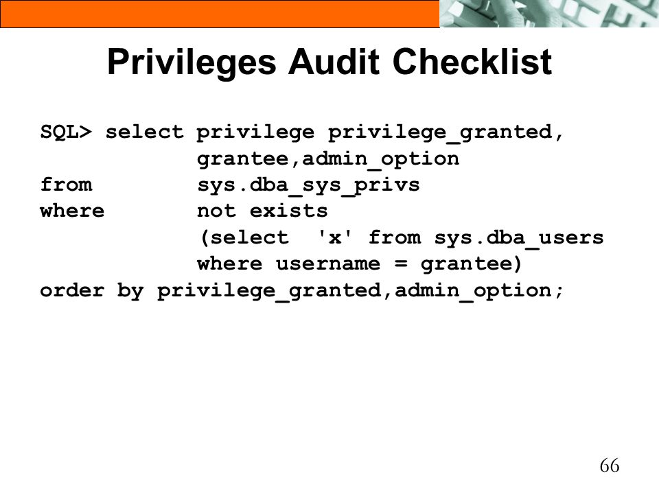Privileges Audit Checklist