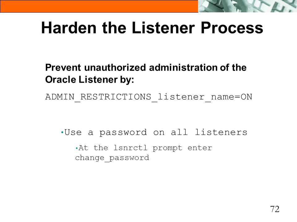 Harden the Listener Process