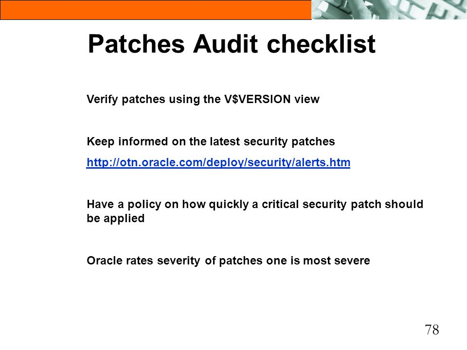Patches Audit checklist
