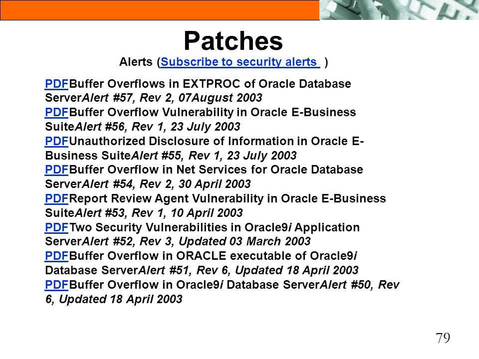 Alerts (Subscribe to security alerts )