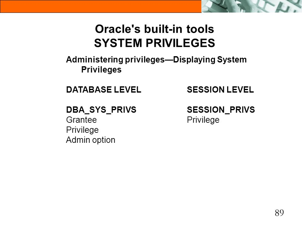 Oracle s built-in tools SYSTEM PRIVILEGES