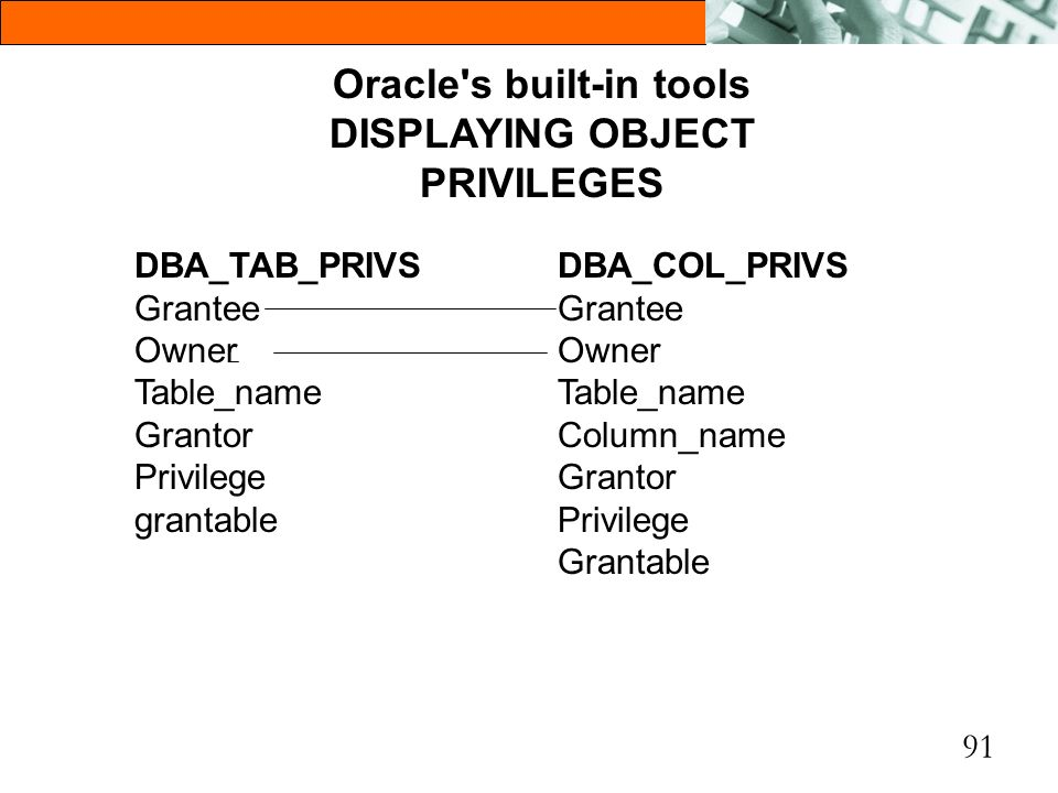 Oracle s built-in tools DISPLAYING OBJECT PRIVILEGES