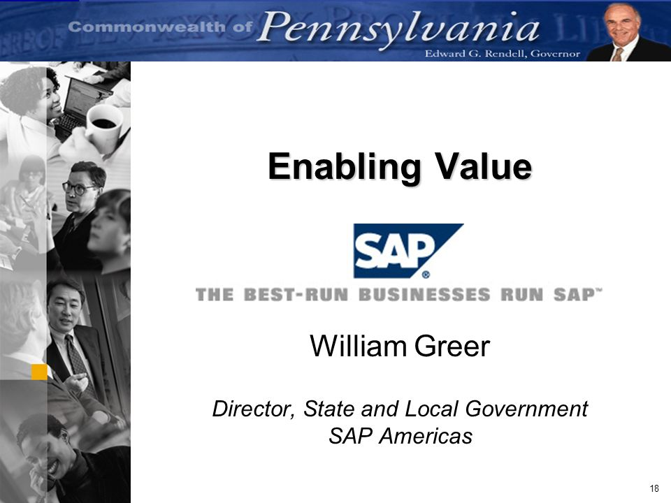 William Greer Director, State and Local Government SAP Americas