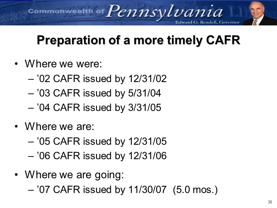 Preparation of a more timely CAFR
