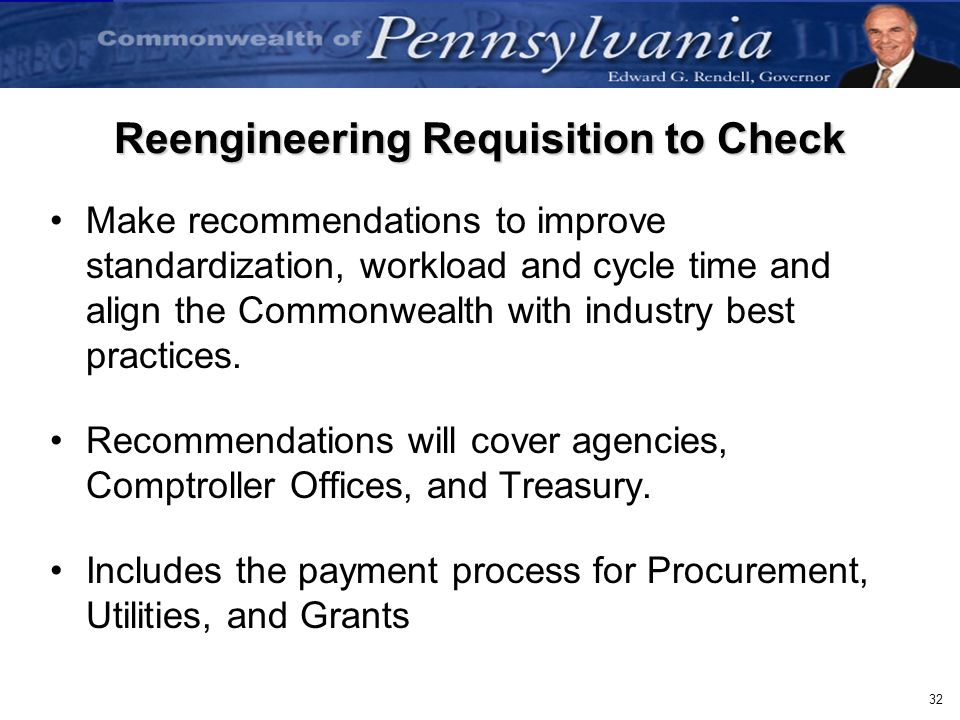 Reengineering Requisition to Check
