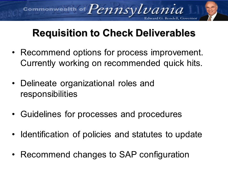 Requisition to Check Deliverables