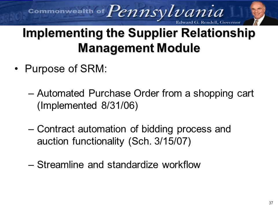 Implementing the Supplier Relationship Management Module