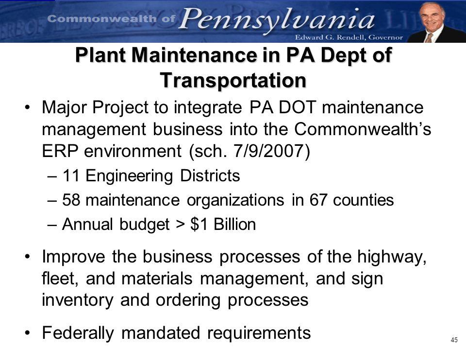 Plant Maintenance in PA Dept of Transportation