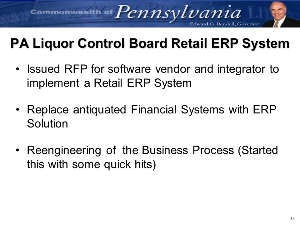 PA Liquor Control Board Retail ERP System