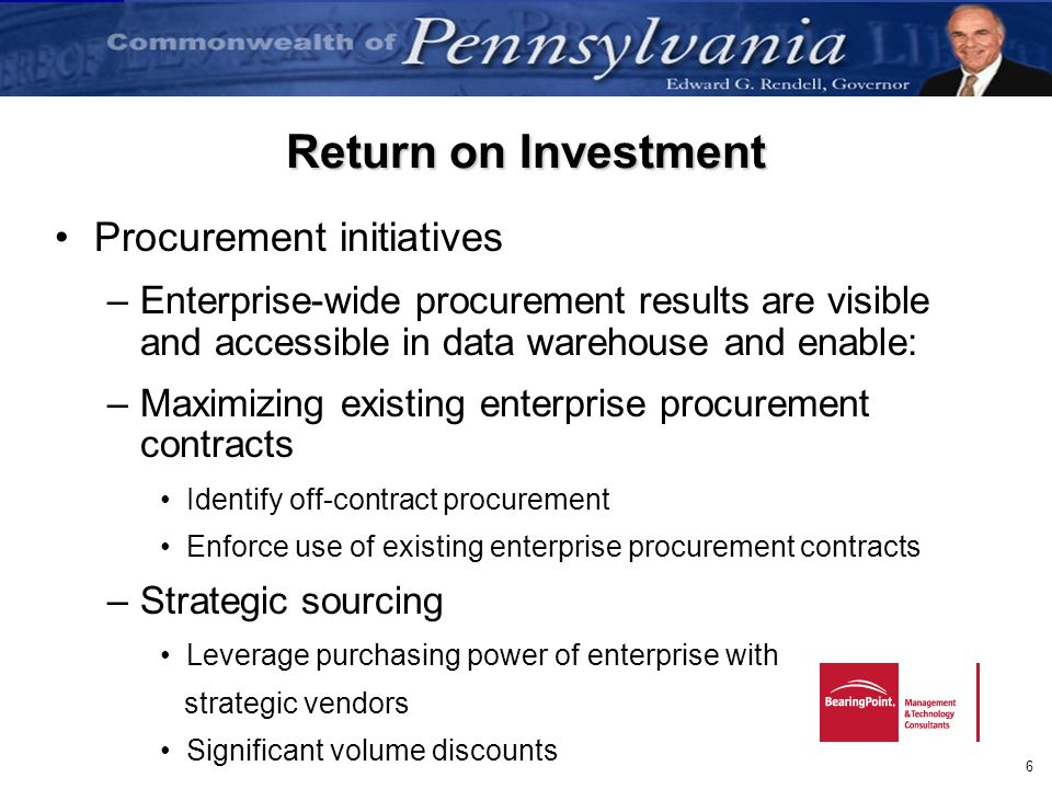 Return on Investment Procurement initiatives
