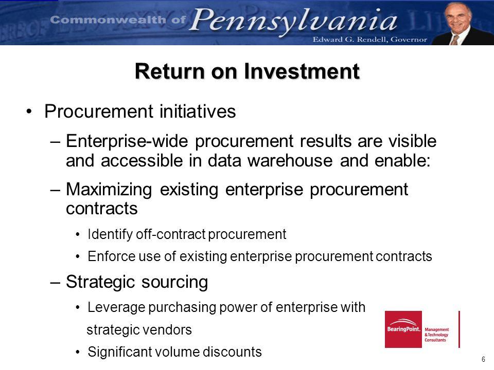 Return on Investment Procurement initiatives