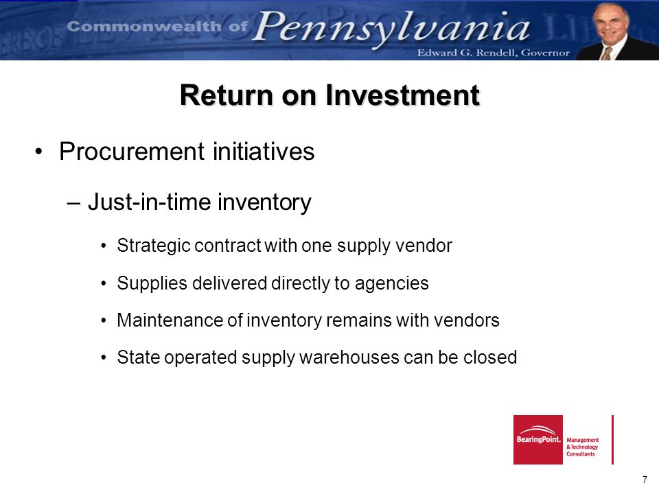 Return on Investment Procurement initiatives Just-in-time inventory