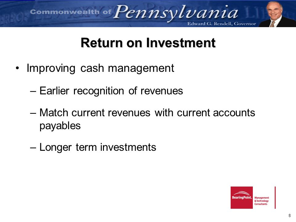 Return on Investment Improving cash management