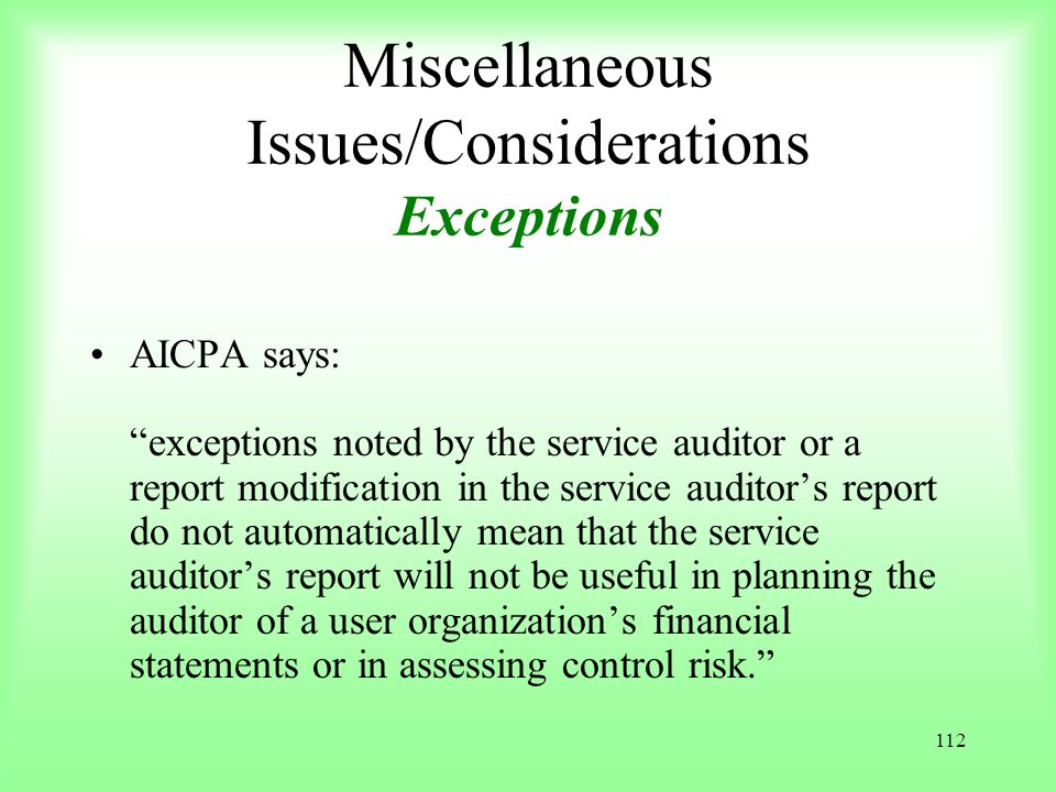 Miscellaneous Issues/Considerations Exceptions