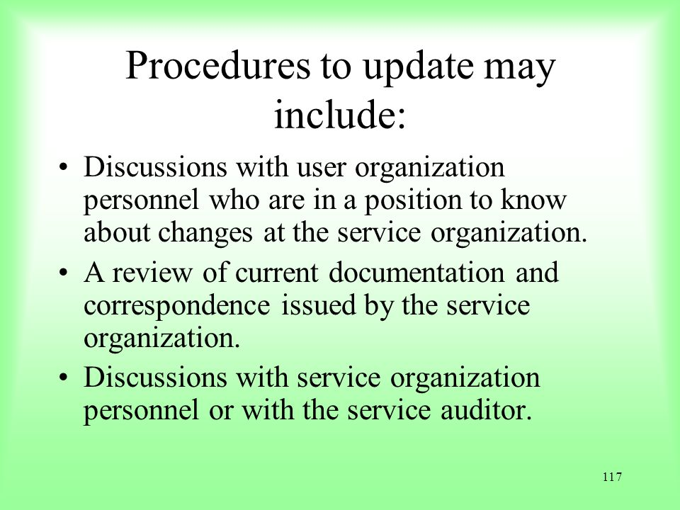 Procedures to update may include:
