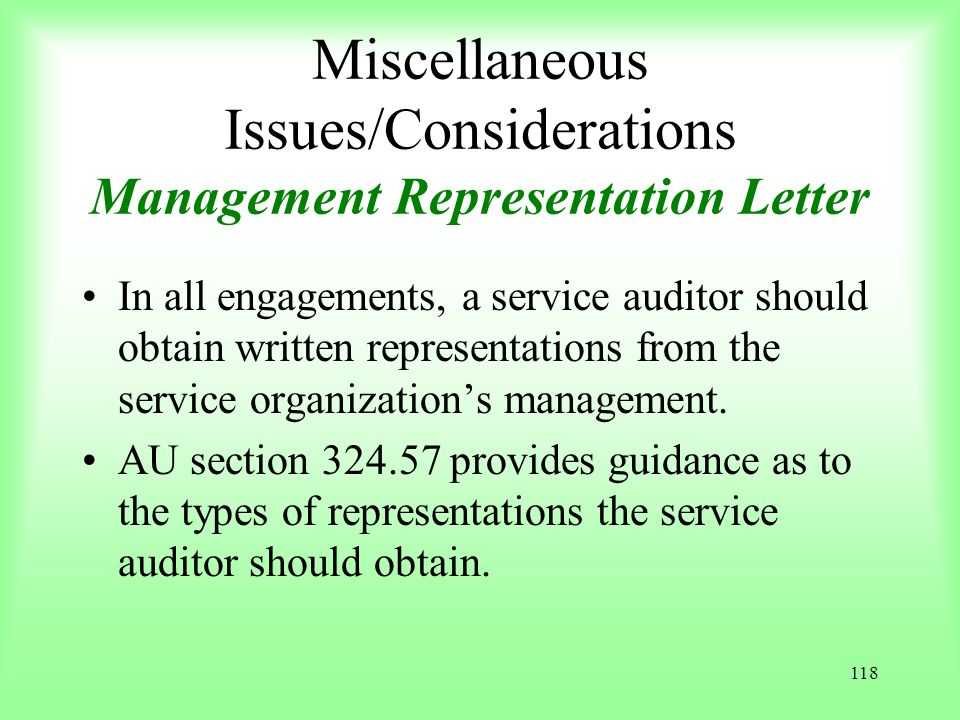 Miscellaneous Issues/Considerations Management Representation Letter