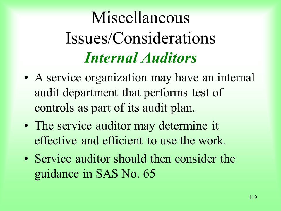 Miscellaneous Issues/Considerations Internal Auditors