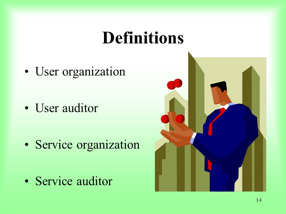 Definitions User organization User auditor Service organization