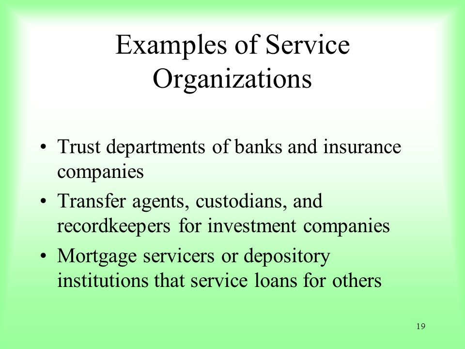 Examples of Service Organizations