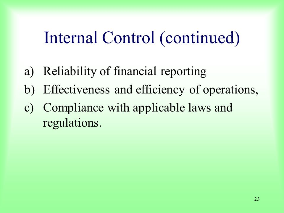 Internal Control (continued)