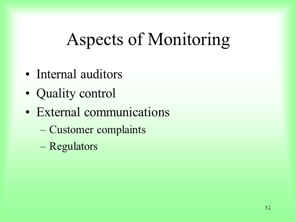 Aspects of Monitoring Internal auditors Quality control