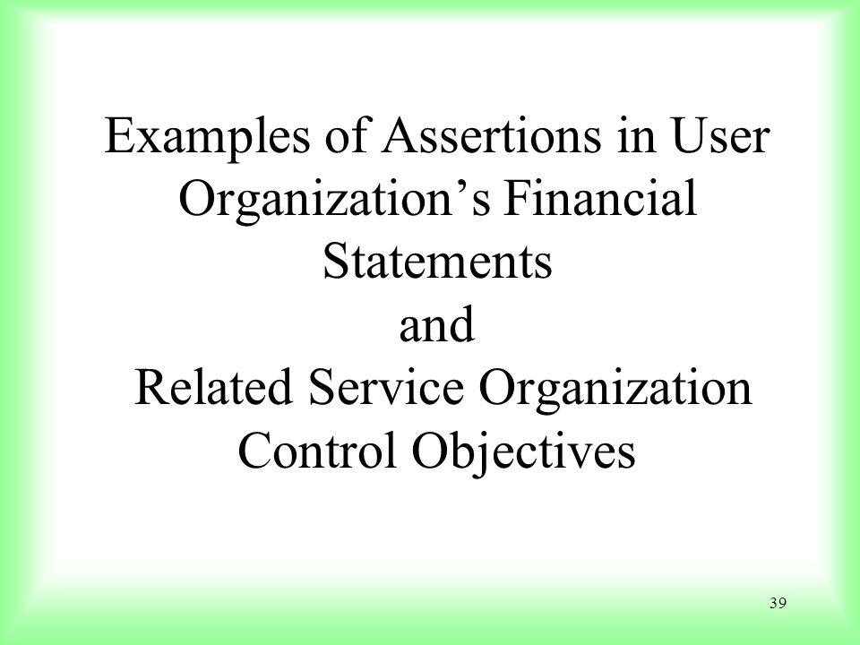 Examples of Assertions in User Organization's Financial Statements and Related Service Organization Control Objectives